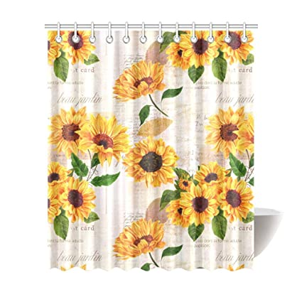 InterestPrint Vintage Sunflowers On Postcards Newspaper Waterproof Shower Curtain Decor Floral Fabric Bathroom Set With