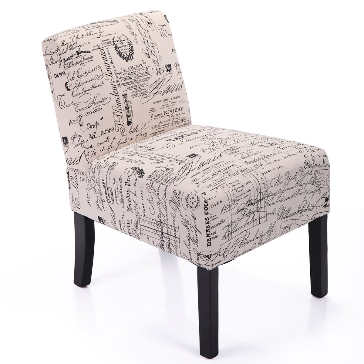 LAZYMOON Leisure Armless Chair Modern Contemporary Upholstered Single Fabric Couch Seat Accent Chair Living Room Chair, French Script