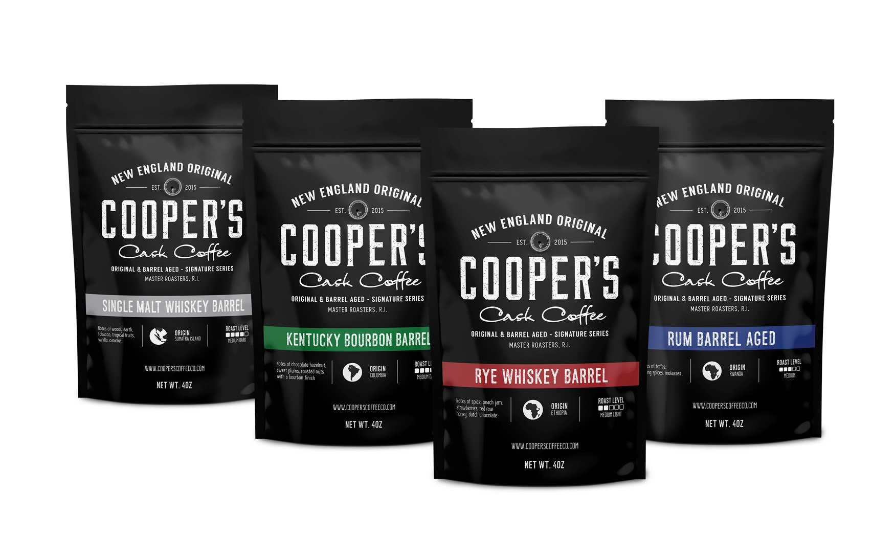 Bourbon, Whiskey & Rum Barrel Aged Coffee, 4 Bags Gift Box Coffee Sampler Set 16oz - Single Origin Sumatra Whiskey, Ethiopian Rye, Rwanda Rum Roasted Coffee Beans, Total 16oz by COOPER'S Cask Coffee