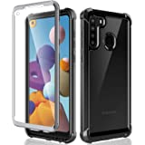 HATOSHI Samsung Galaxy A21 Case with Built-in Screen Protector US Version Only, Military Grade Heavy Duty Protection, Crystal