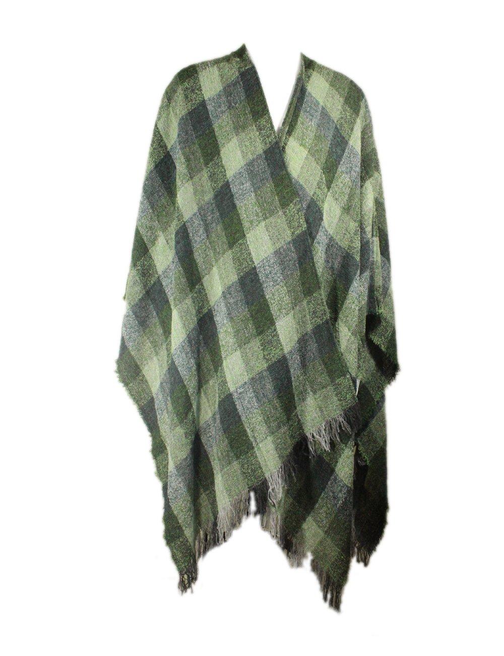 "Ruana Wrap Green Check 54"" x 72"" Made in Ireland"