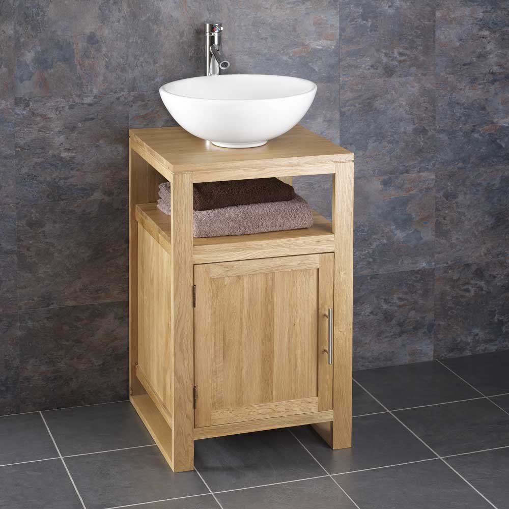 Clickbasin Cube Solid Oak 46cm Square Freestanding Vanity Unit And Arezzo  Sink: Amazon.co.uk: Kitchen U0026 Home