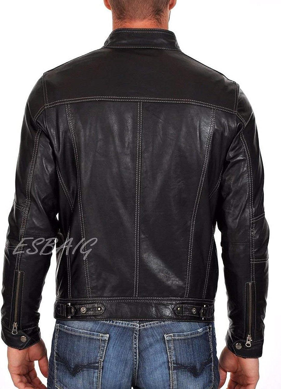 Mens Stylish Lambskin Genuine Leather Motorcycle Biker Jacket 76