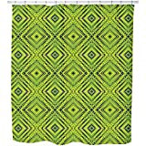 Uneekee Squared Freshness Shower Curtain: Large Waterproof Luxurious Bathroom Design Woven Fabric