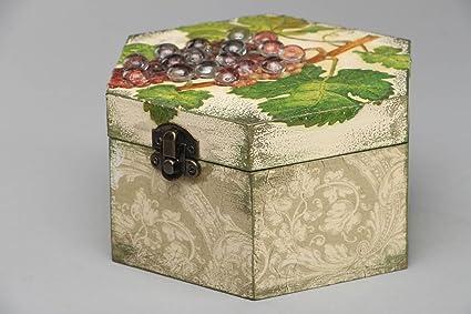 Caja de madera decorada con decoupage