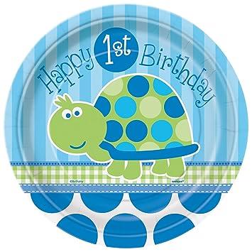 Unique Party- Platos de Papel: Primer Cumpleaños de Tortuga, 8 Unidades, Color azul, 18 cm (40444)