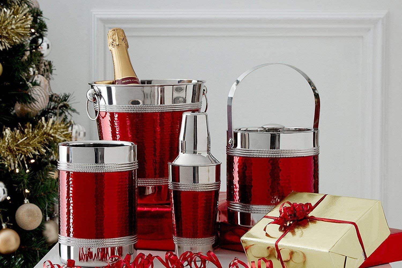 Premier Housewares 0507787 Rinfrescatore per Bottiglie in Acciaio Inossidabile Effetto Martellato Banda Nera