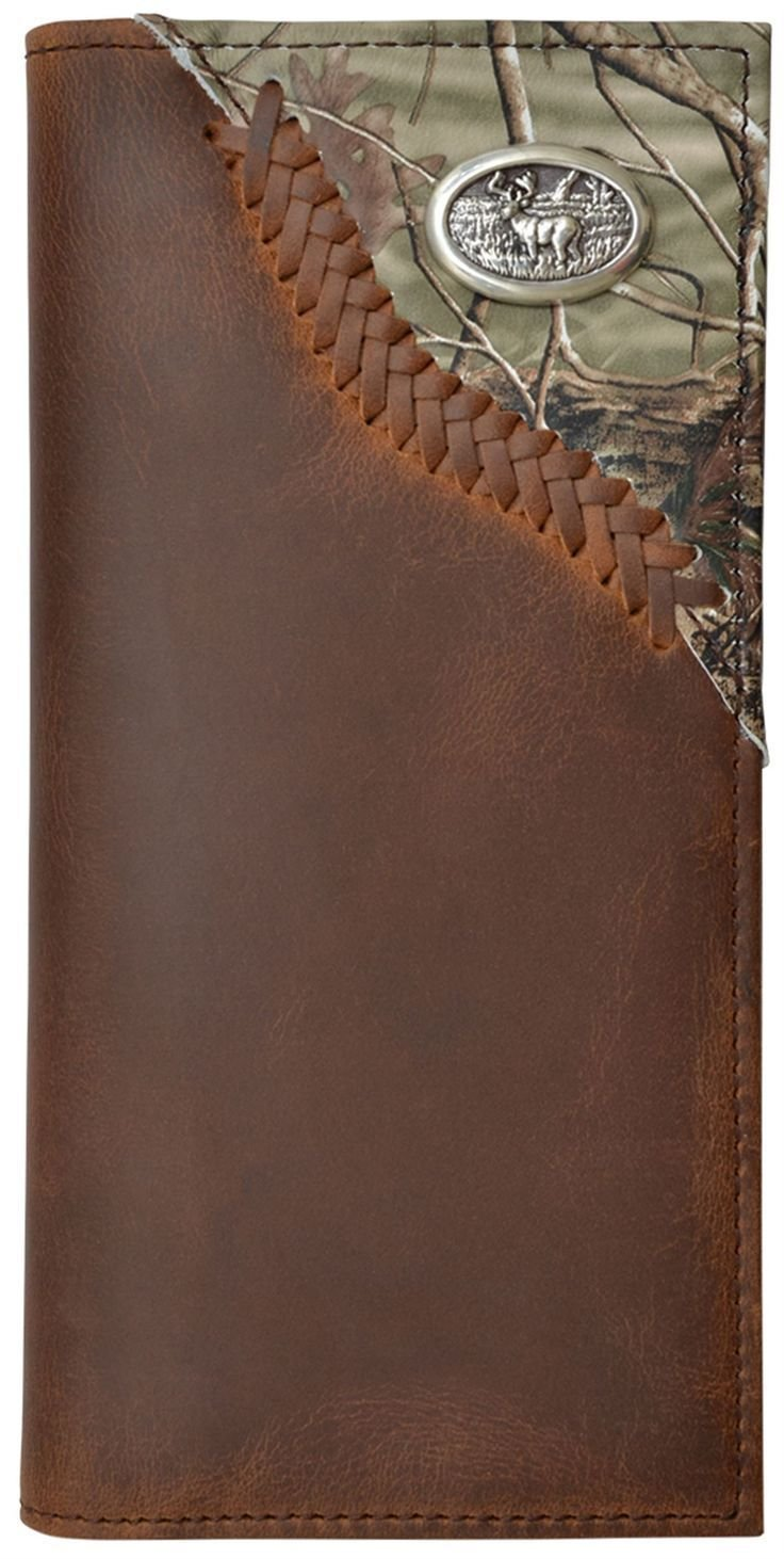 Custom Leather Wallet with Realtree Camo Inlay and Buck Concho