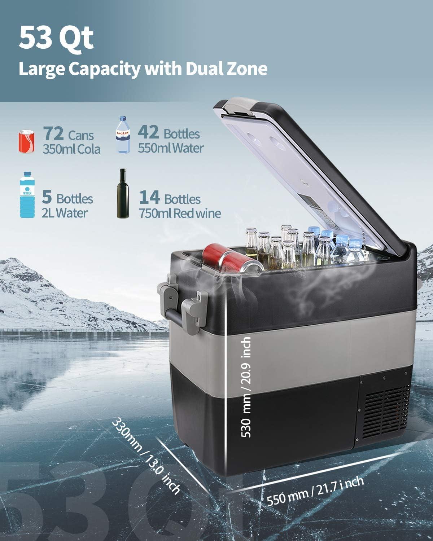 BougeRV 53 Quart Insulated Protective Cover 12 Volt Portable Refrigerator Cover for Kalamera KRC-S50S 53 Quart Fridge