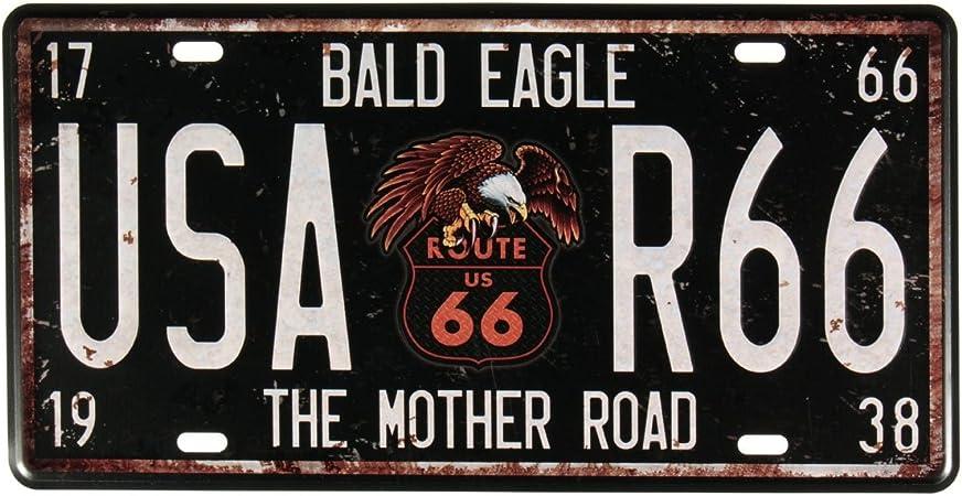 Evilandat - Placa metálica de matrícula de la ruta 66 de EE. UU., estilo vintage y anticuado, para decorar la pared del hogar, tienda, garaje, bar,: Amazon.es: Hogar