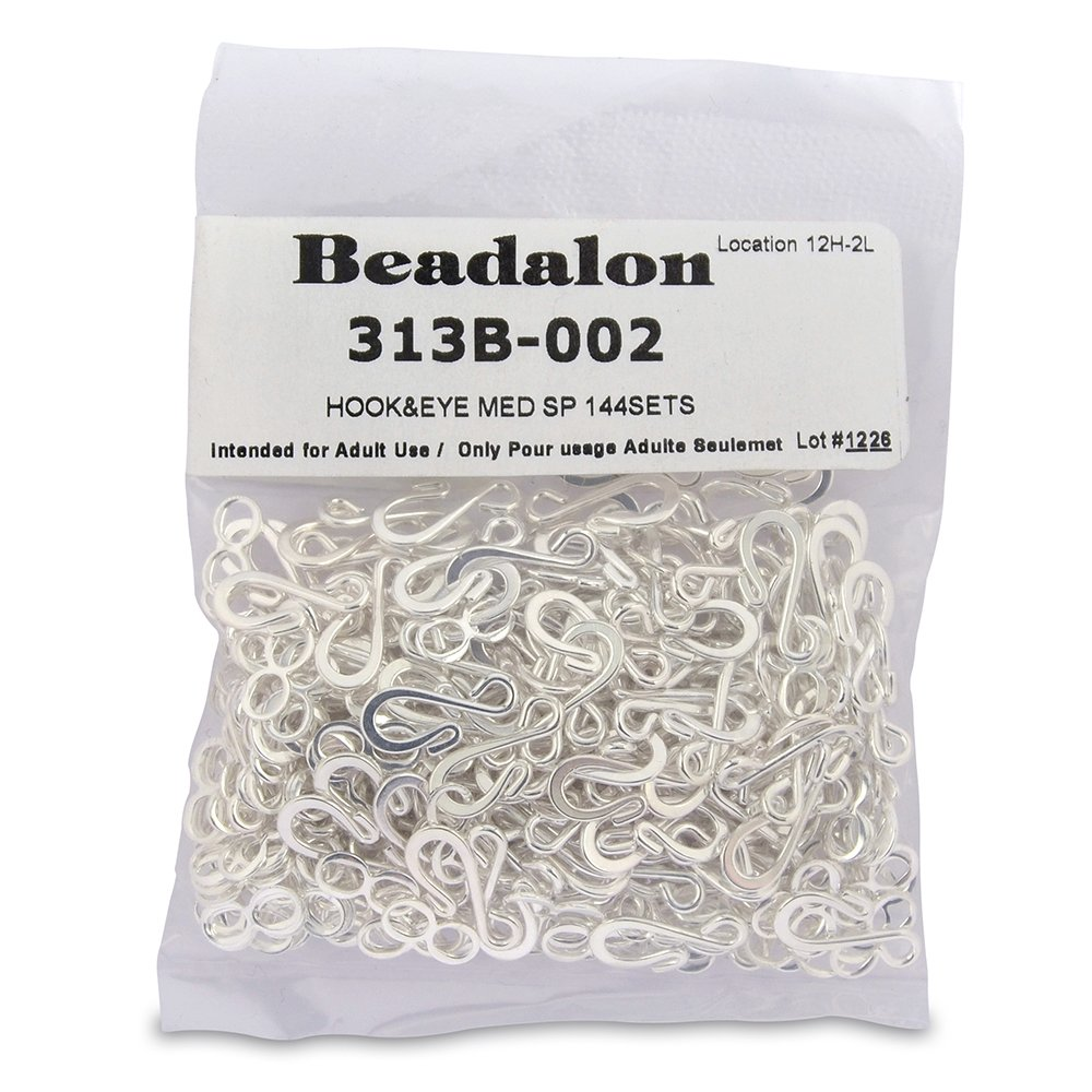 Amazon.com: Beadalon Medium Hook and Eye Clasps, Silver Plate, Set ...