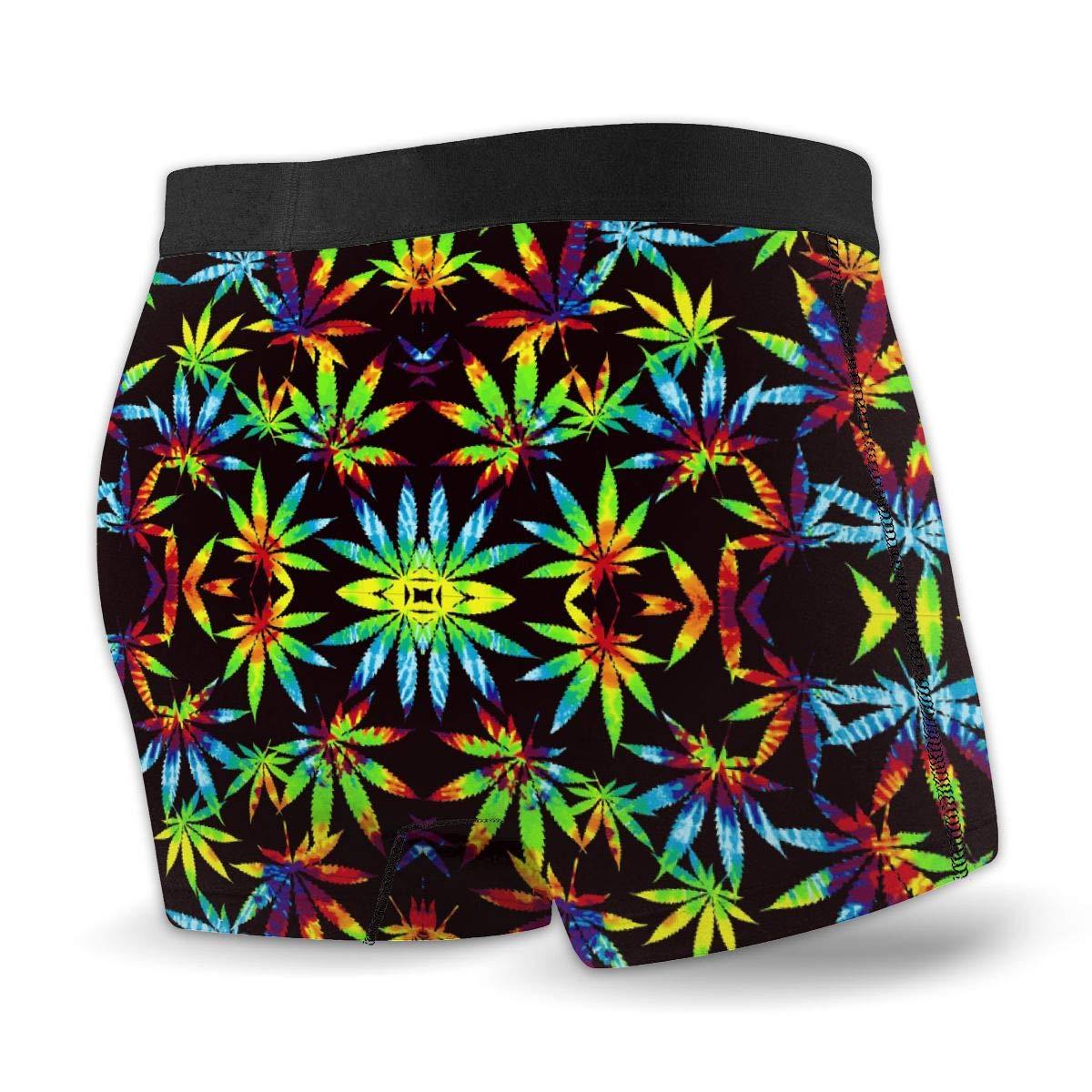Rolandrace Mens Boxer Brief Tie Dye Pot Leaf Weeds Toddler Underwear Colors Soft