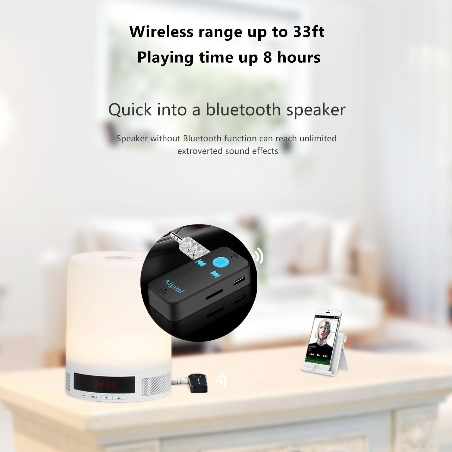 Receptor Bluetooth Aigital Adaptador Audio Inalámbrico Kit Bluetooth 4.1 con Salida Estéreo 3.5 mm para Altavoz, Auriculares, Streaming, casa y Kit Auto ...
