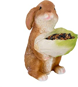 Bird Feeder Garden Decor – Squirrel Feeders for Outside – Resin Construction – Rabbit Shaped Squirrel Feeder – Cute Designs and Colors – Ideal for Birdwatching, Bird Sanctuary (Rabbit)