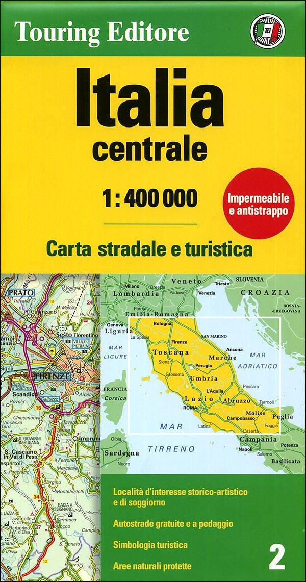 Italia centrale 1:400.000. Carta stradale e turistica (Touring Club Italiano Road Maps)