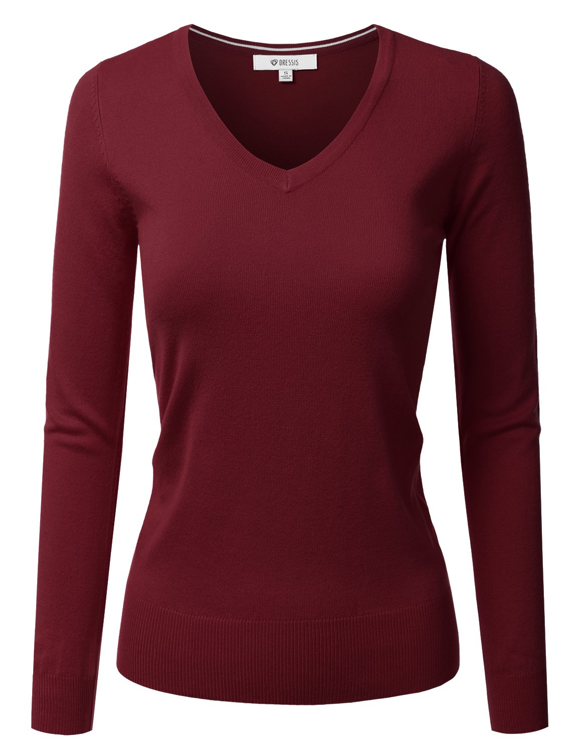 DRESSIS Womens Classic Long Sleeve V-Neck Knit Sweater Top DARKBURGUNDY L