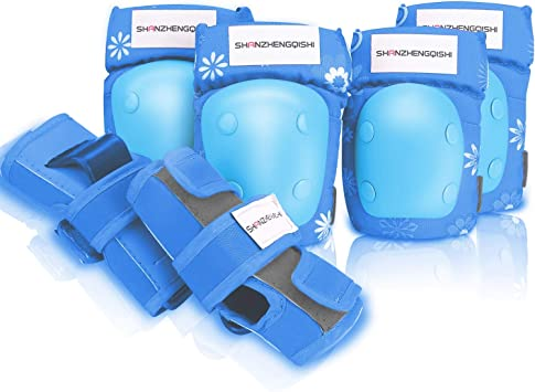 BeBeFun Kids//Youth Knees Elbow and Wrist Guards Protective Pads Set for Bikes Skateboard Roller Skate Rollerblade Cycling BMX for Boys and Girls.