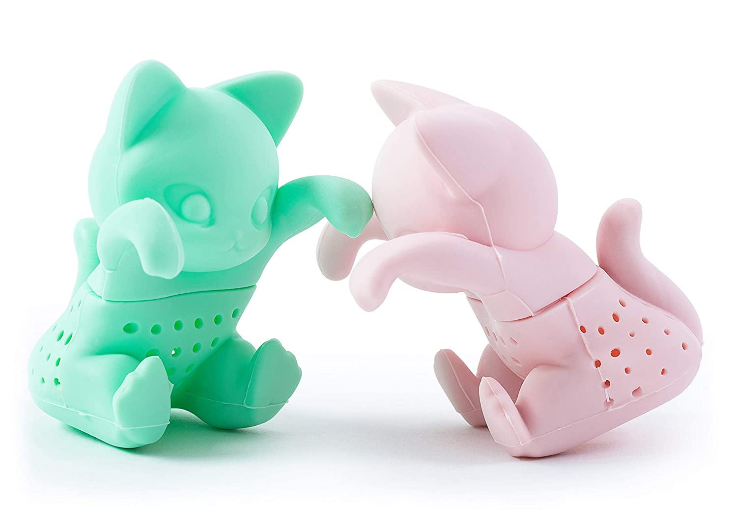 Tea Infuser Set for Loose Leaf Tea - Cute Cat-shaped Tea Strainers for Enjoyable Tea Times with Friends -Set of 2 - Pink and Mint Green