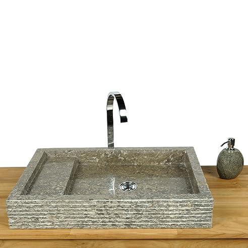 WOHNFREUDEN Marmor Waschbecken ✓ 60 cm recht-eckig poliert grau ... | {Waschbecken rechteckig stein 39}