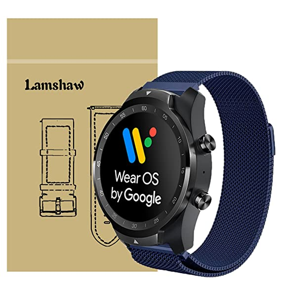 for TicWatch Pro Band, Lamshaw Milanese Magnetic Loop Stainless Steel Watch Strap for TicWatch Pro/TicWatch S2 / TicWatch E2 Smartwatch Band (Blue)