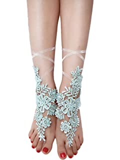 ASA Bridal Summer Crochet Barefoot Sandals Lace Anklets Wedding Prom Party Bangles