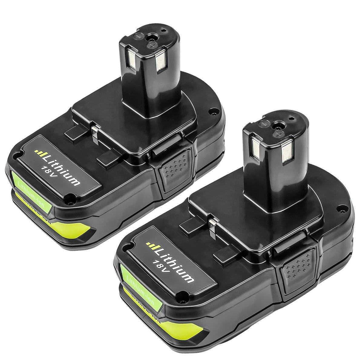 P102 2500mAh Replace for Ryobi 18V Battery P104 P105 P102 P103 P107 P108 for Ryobi 18-Volt ONE+ Plus Power Tool Batteries 2Pack