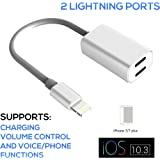 iPhone 7 Splitter Adapter Cable, by Tip-Top Home Goods, 2 in 1 Dual Lightning Headphone Jack Audio & Charger Adapter, 7 / 7 plus iOS 10.3 and later