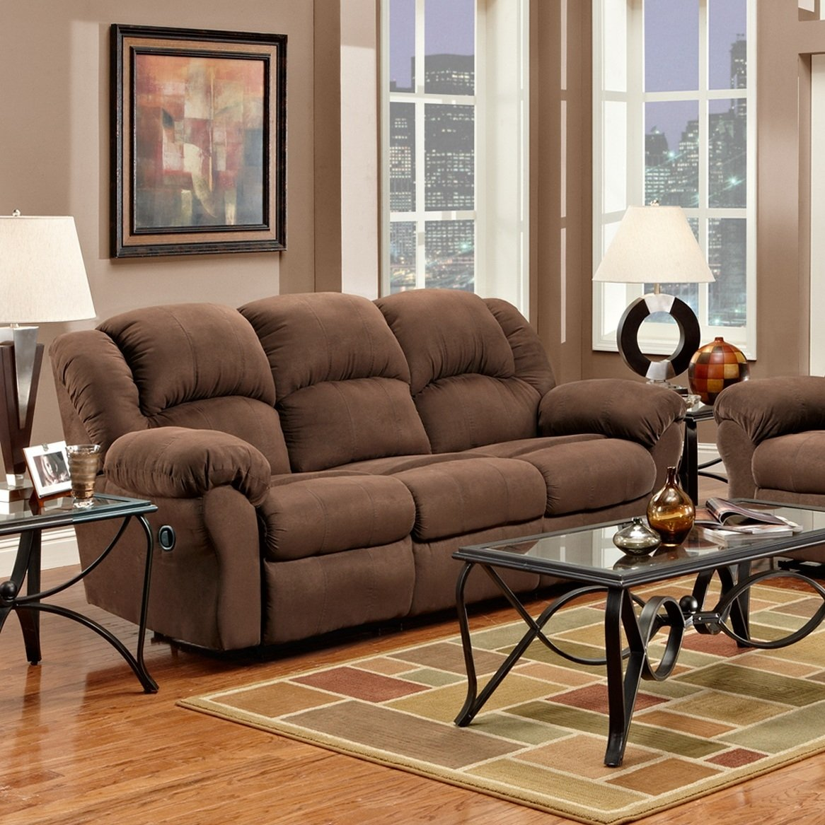 Amazon.com Roundhill Furniture Aruba Microfiber Dual Reclining Sofa Chocolate Kitchen u0026 Dining : microfiber reclining sofa sets - islam-shia.org