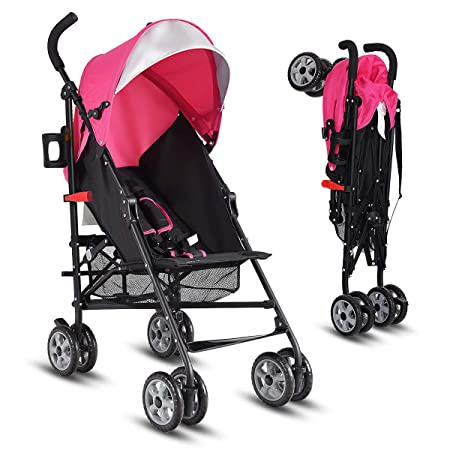 INFANS Lightweight Baby Umbrella Stroller, Foldable Infant Travel Stroller with 4 Position Recline, Adjustable Backrest, Cup Holder, Storage Basket, UV Protection Canopy, Carry Belt Pink