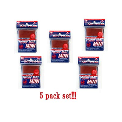 [Red] KMC Card Barrier Hyper Mat Mini Sleeves 60pcs × 5 Sets (5 Packs/total 300 Sheets) From Japan: Toys & Games