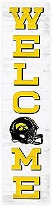 P. Graham Dunn Welcome Iowa University Hawkeyes NCAA 47 x 10.5 Birch Wood Vertical Porch Leaner Sign