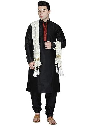 25cece1575e7 Indian Kurta Pajama Stole 3- Pieces Set Men Long Sleeve Hook   Eye Shirt  Pyjama