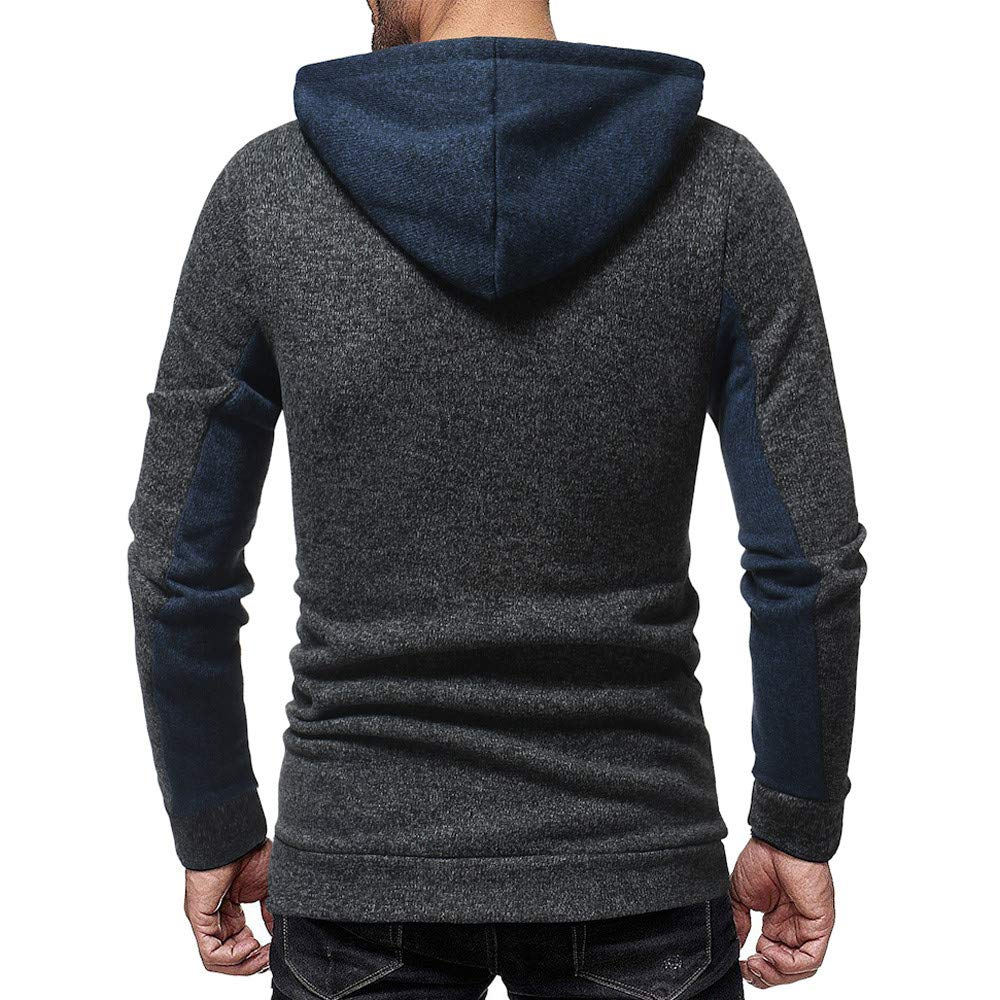 Mens Autumn Casual Patchwork Long Sleeve Hoodie Sweatshirt Top Blouse Palarn Clearance Clothes