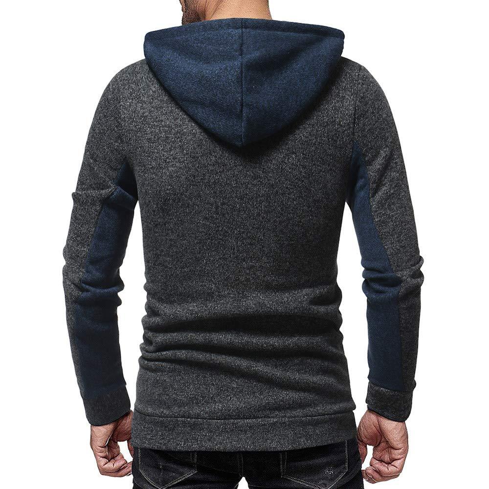 khdug✿ Outwear for Men Mens Autumn Casual Patchwork Long Sleeve Hoodie Sweatshirt Top Blouse