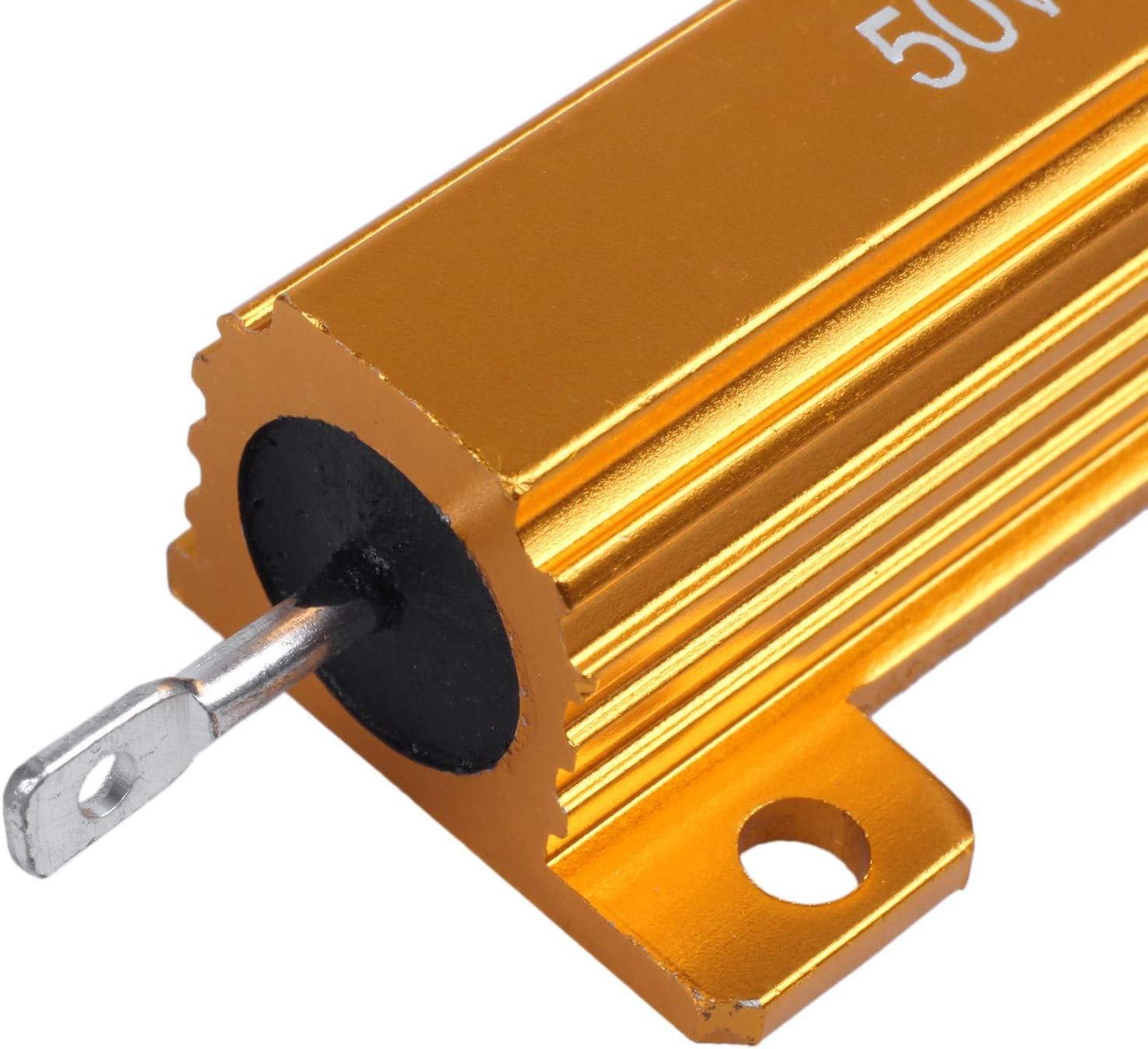 CareMont 2 Pcs Electronic Aluminium Shell Resistors 5/% 8 Ohm 50W