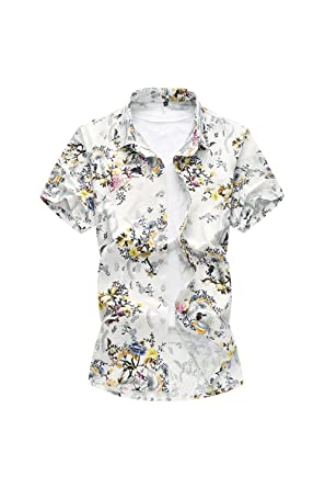 bd32845ff Yacun Hombres De Manga Corta Camisas Hawaianas Playa Floral Casual Tops   Amazon.es  Ropa y accesorios