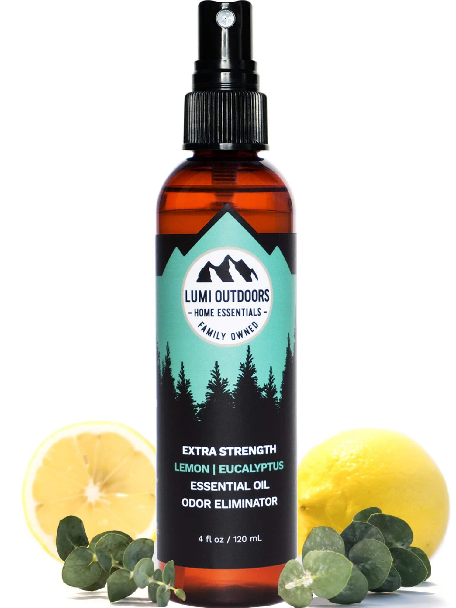 Natural Shoe Deodorizer Spray & Foot Odor Eliminator - Extra Strength Eucalyptus Lemongrass by Lumi Outdoors
