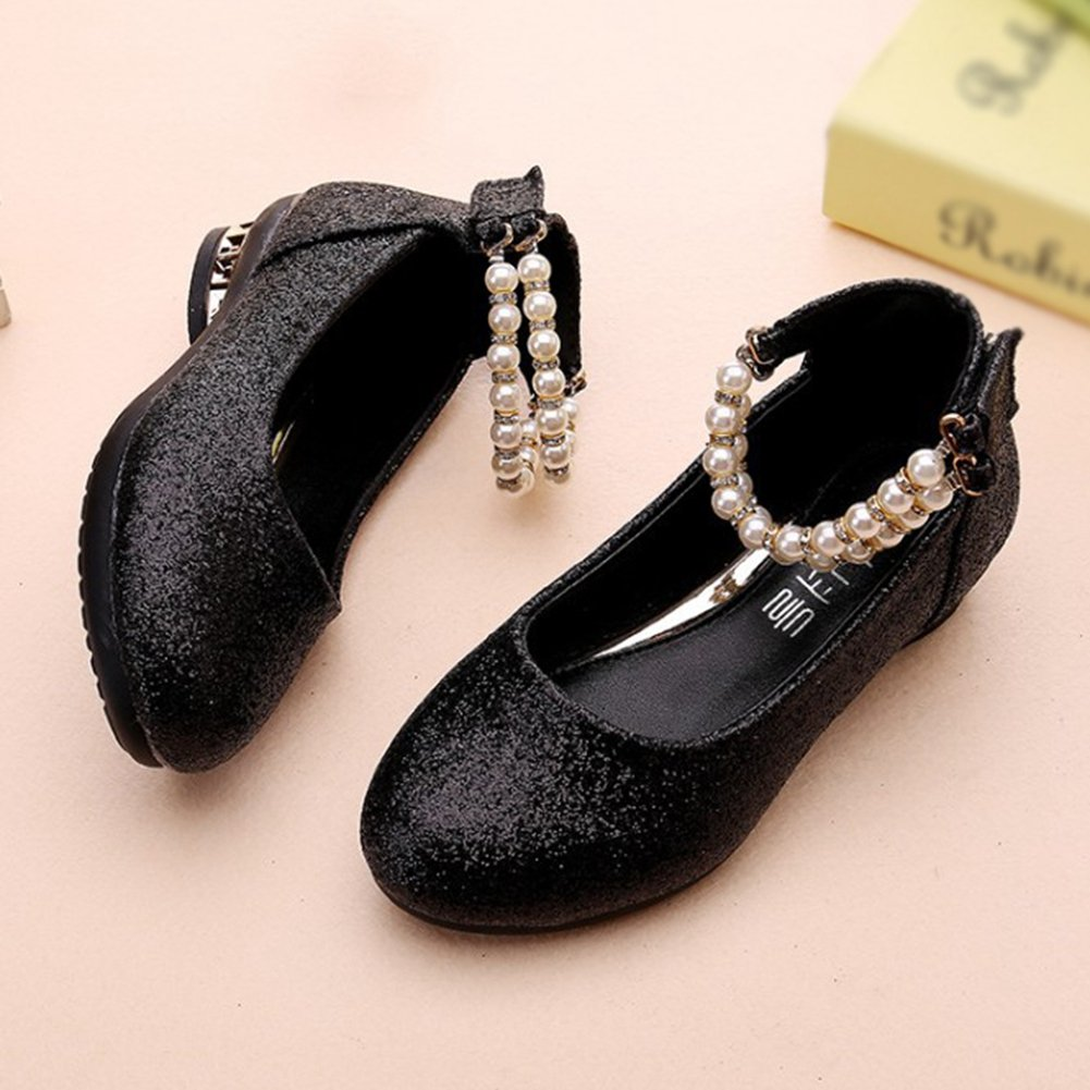 F-OXMY Little Girls Glitter Non-Slip Low Heel Performance Dress Shoes Ankle Strap Mary Jane Shoes