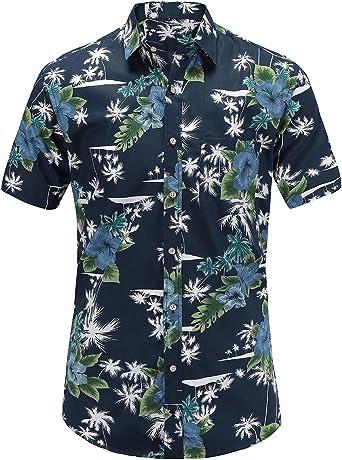Camisa para hombre de Jeetoo de manga corta, para verano, regular fit, con diseño de vela, pájaros, flores, flamencos e impresión: Amazon.es: Ropa y accesorios