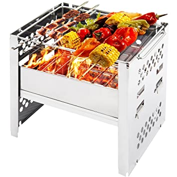 Pequeño Grill Portátil carbón pilable ideal para barbacoa Picnic Camping sartén (de horno exterior acero