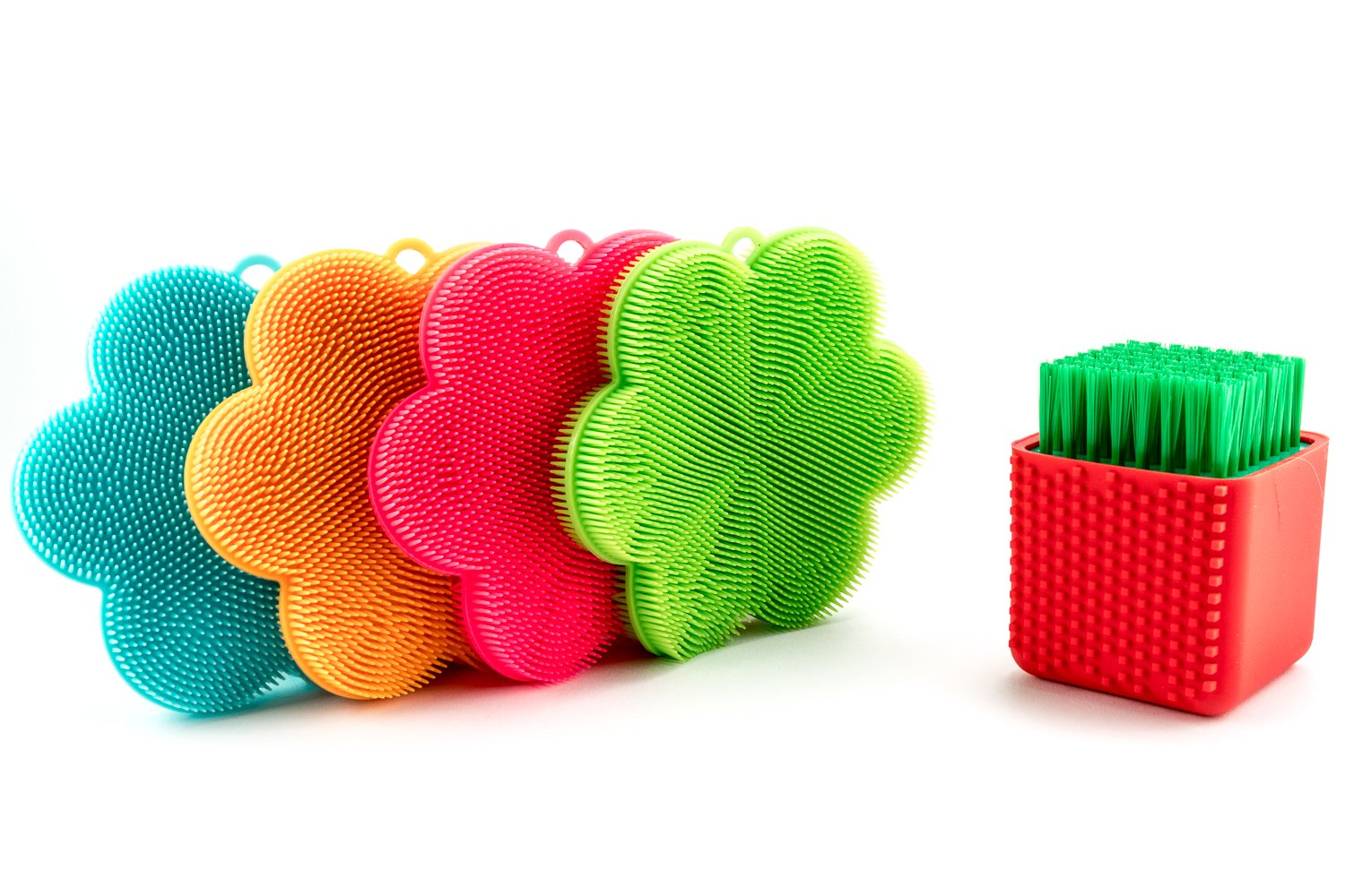 Premium Food Grade Silicone Scrubber and Brush for Cleaning (4 pc + Silicone Brush) | Antibacterial and BPA-free