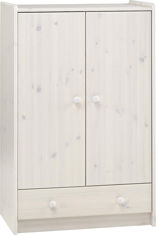 Steens For Kids Kleiderschrank, Kinderzimmerschrank mit Wäscheeinnteilung, 79 x 123 x 53 cm (B H T), Kiefer massiv, weiß