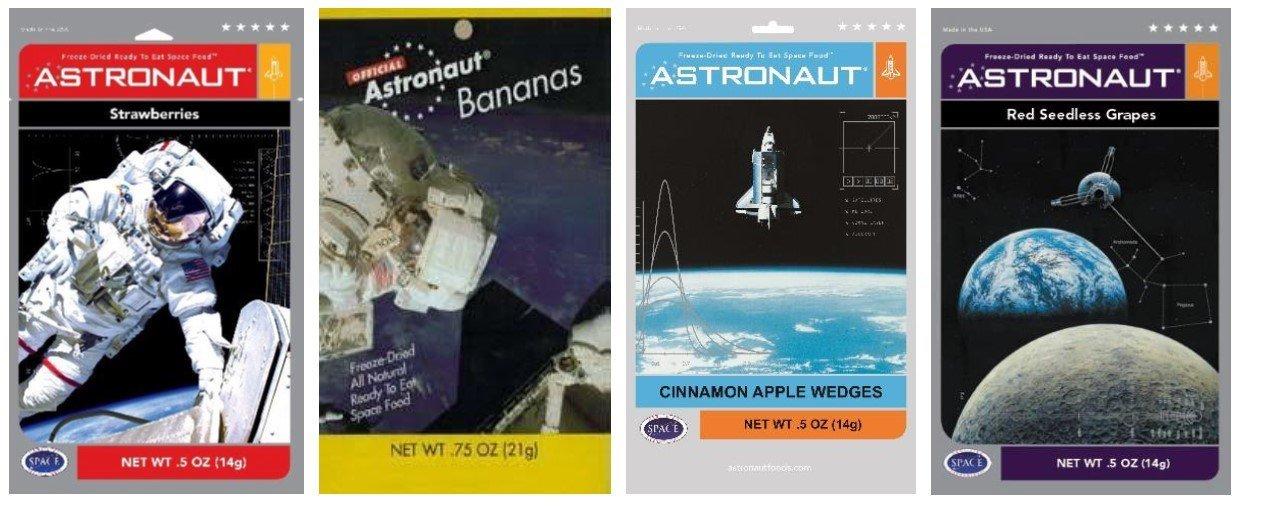 Astronaut Foods Freeze-Dried Space Food Fruit 4 Flavor Variety Bundle, (1) Each: Strawberries, Bananas, Cinnamon Apples, and Grapes, .5-.75 Oz Ea