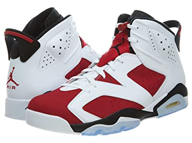Nike Mens Air Jordan 6 Retro Carmine White/Carmine-Black Leather Basketball  Shoes Size