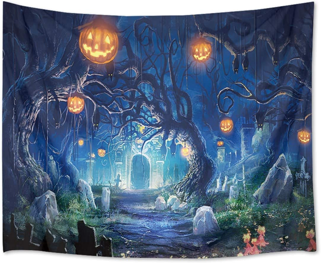 HVEST Halloween Tapestry Night Tapestry Wall Hanging Haunted Woods with Grave and Pumpkins Wall Blanket for Bedroom Living Room Dorm Decor,92.5W X 70.9H inches