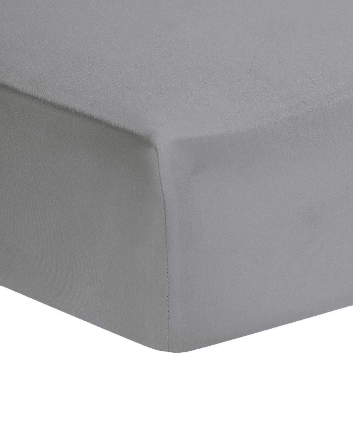 AmigoZone Plain Non Iron Percale Polycotton 4FT Small Double Fitted Sheet (White, 4FT Small Double) Larra Limited