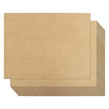 image regarding Printable Card Stock identified as 100 Sheets Kraft Greeting Card Inventory - 50 percent Fold Greeting Playing cards for Inkjet and Laser Printers, Printable Blank Be aware Playing cards, 8.5 x 5.5 Inches Folded