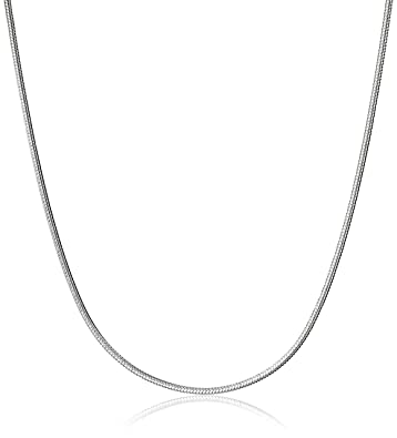 66780b030b4c6f Amazon.com: Sterling Silver Round Snake Chain Necklace, 18