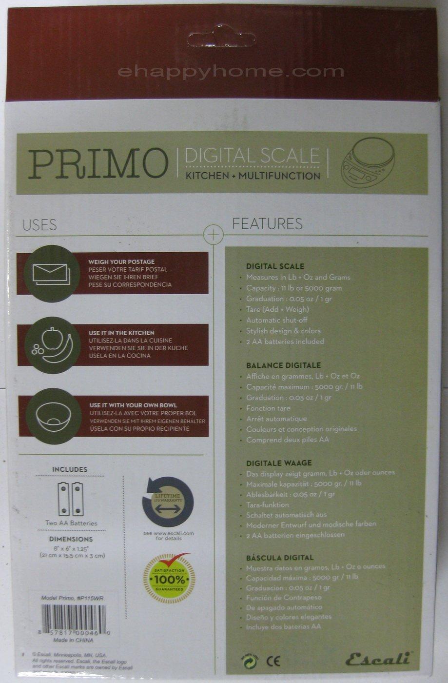 Amazon.com: Escali Primo P115WR Digital Kitchen Food Scale-Warm Red: Health & Personal Care
