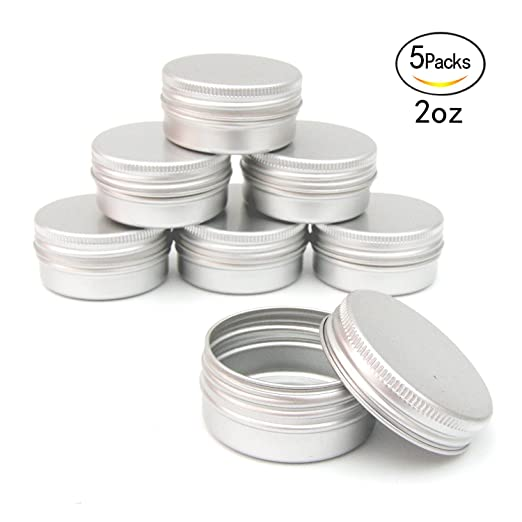 Healthcom 2oz 5 Pack Metal Steel Tin Flat Silver Metal Tins Empty Slip Slide Round Tin Containers With Tight Sealed Twist Screwtop Cover